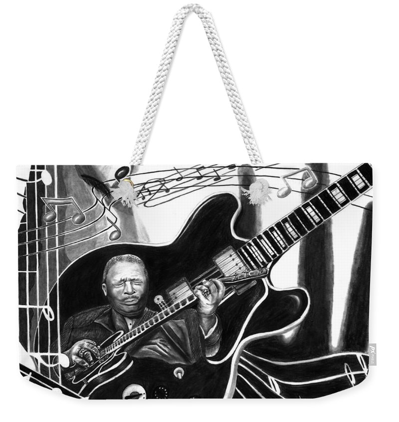 Playing With Lucille - Bb King Weekender Tote Bag featuring the drawing Playing With Lucille - Bb King by Peter Piatt