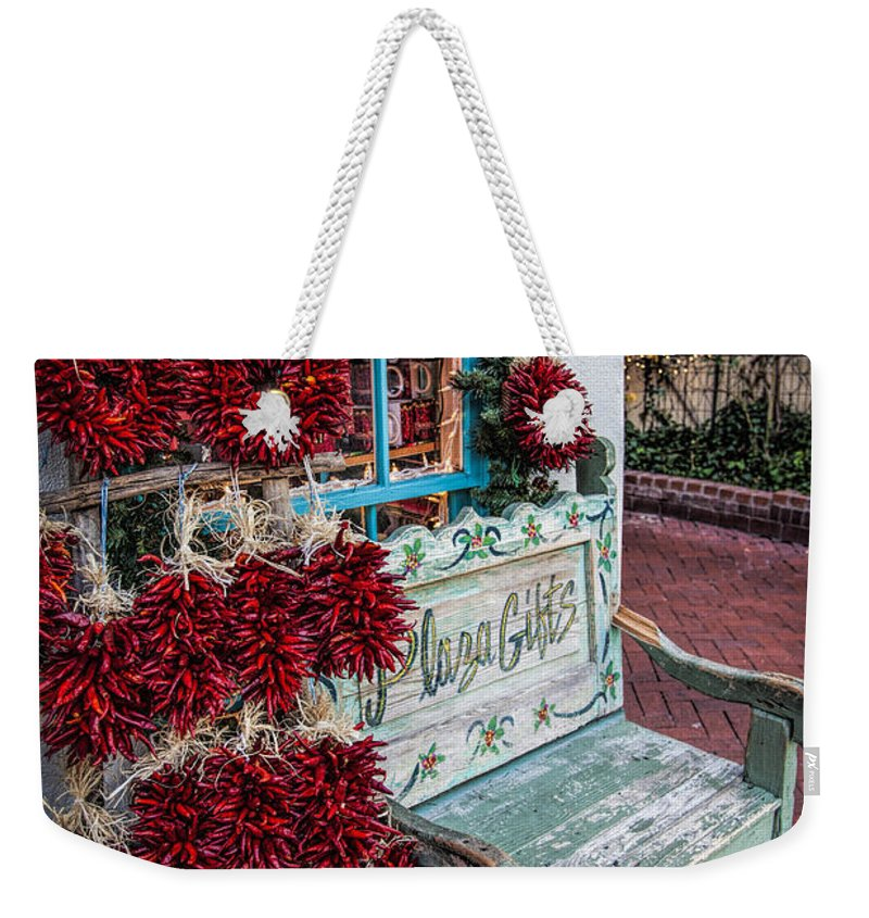 Old Town Albuquerque Weekender Tote Bag featuring the photograph Plaza Gifts Bench by Diana Powell