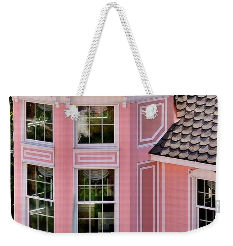 Hotel Weekender Tote Bag featuring the photograph Beautiful Pink Turret - Boardwalk Plaza Hotel Annex - Rehoboth Beach Delaware by Kim Bemis