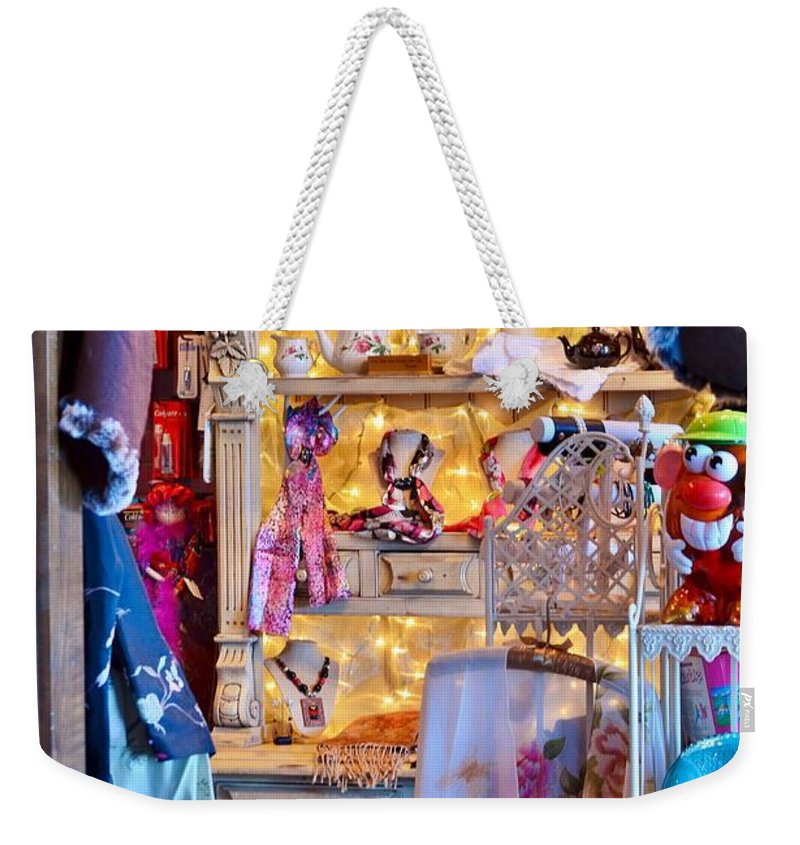 Shop Weekender Tote Bag featuring the photograph Shop At The Boardwalk Plaza Hotel - Rehoboth Beach Delaware by Kim Bemis