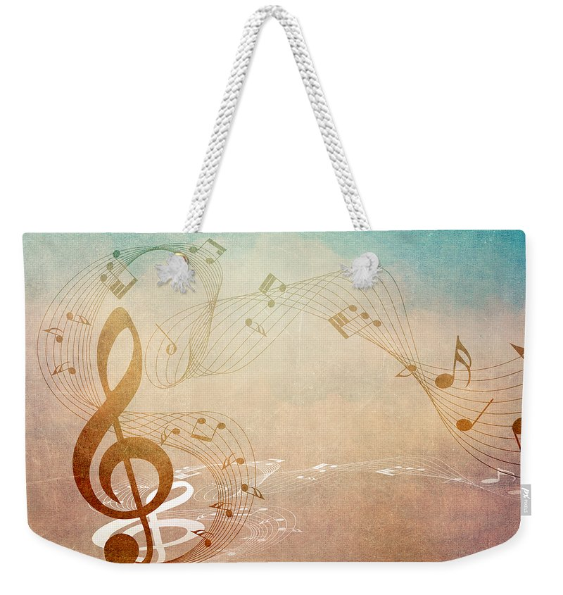 Music Weekender Tote Bag featuring the mixed media Please Dont Stop The Music by Angelina Vick