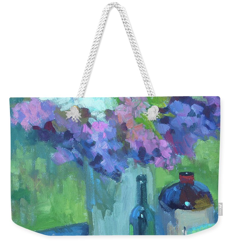 Plein Air Lilacs Weekender Tote Bag featuring the painting Plein Air Lilacs by Diane McClary