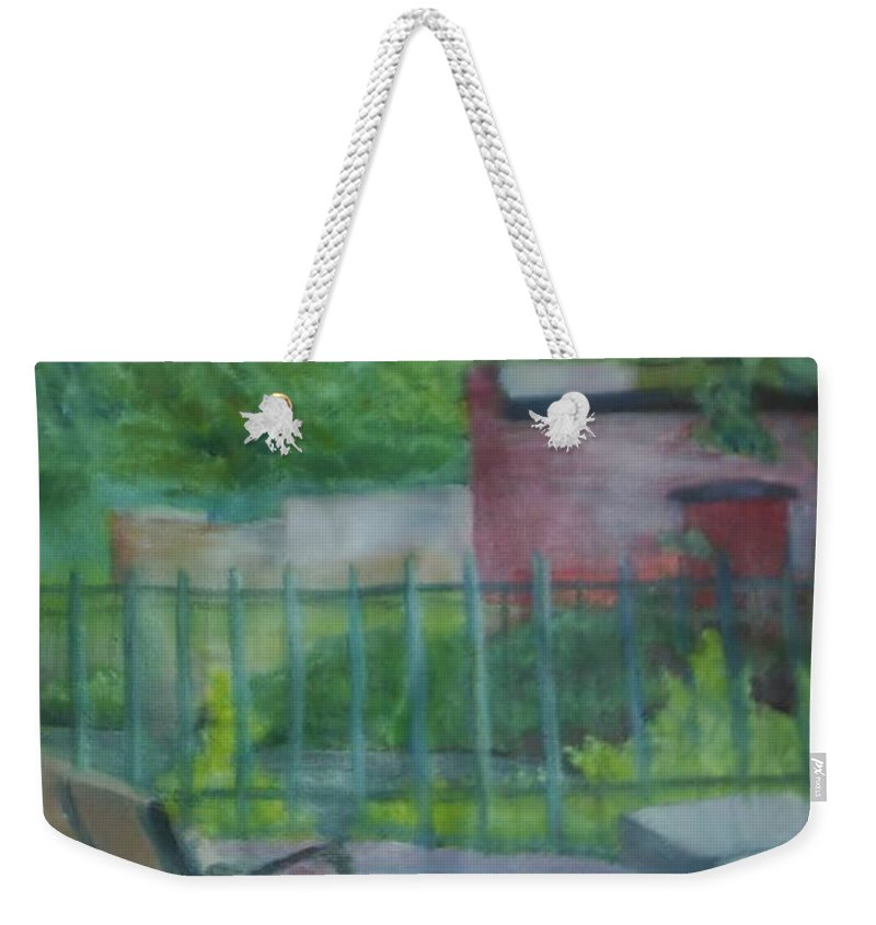 Park Weekender Tote Bag featuring the painting Plein Aire Smithville Park by Sheila Mashaw
