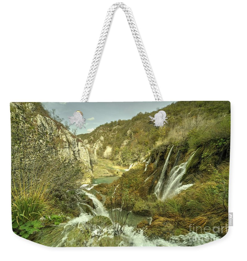 Waterfall Weekender Tote Bag featuring the photograph Plitvice Lakes by Rob Hawkins