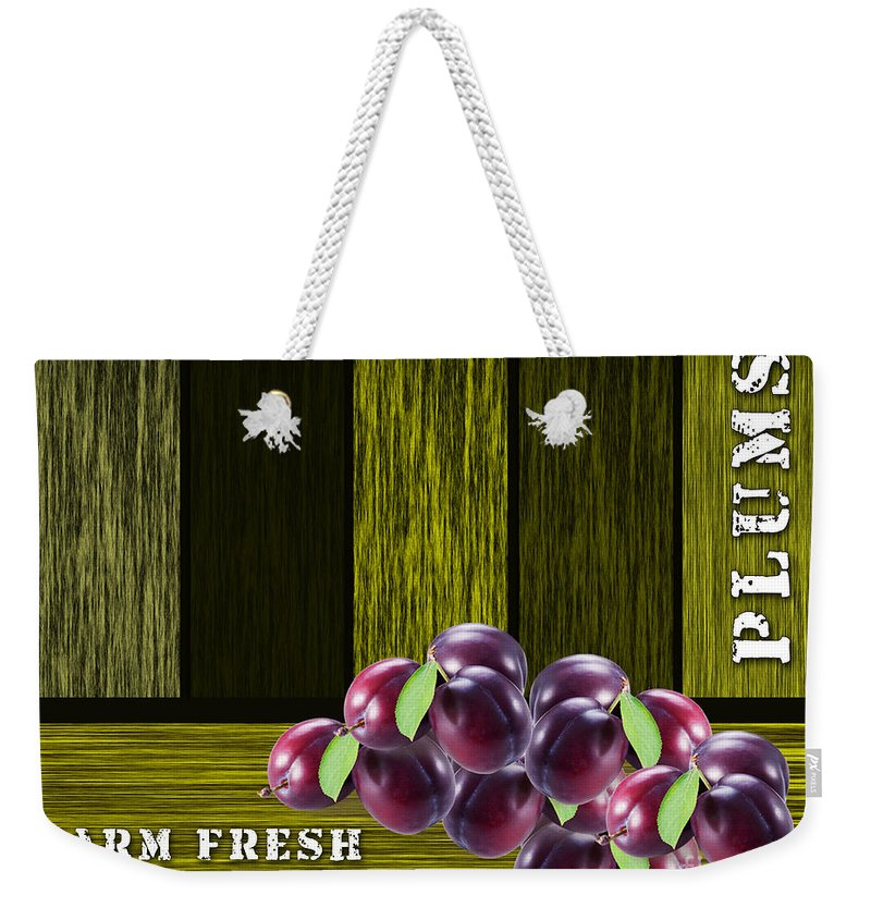 Plum Weekender Tote Bag featuring the mixed media Plum Farm by Marvin Blaine