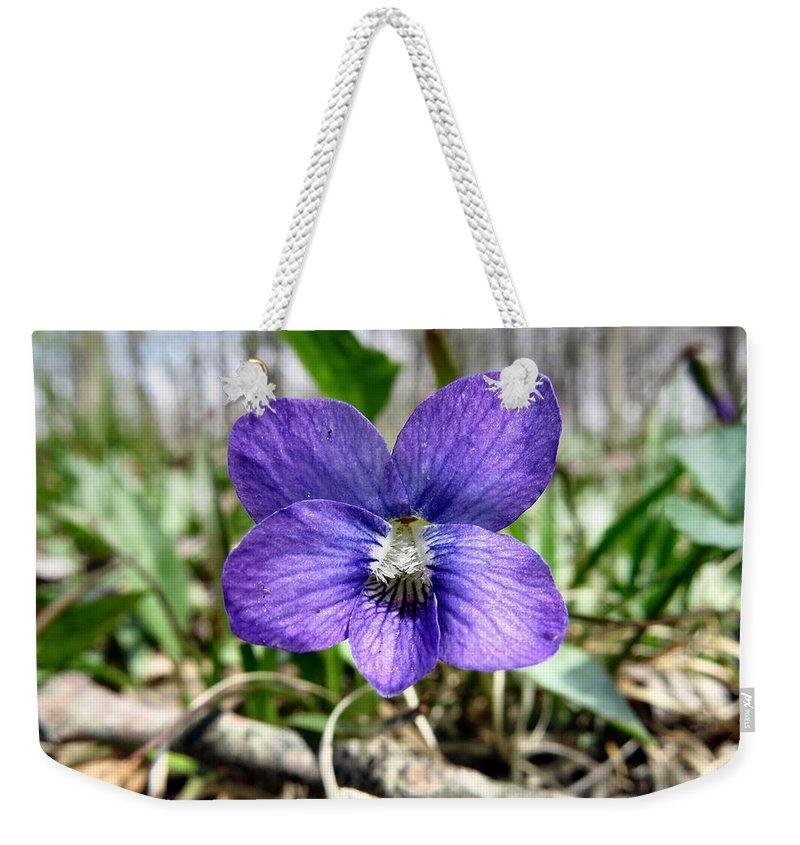 Purple Weekender Tote Bag featuring the photograph Plumb Wildflowers by Art Dingo