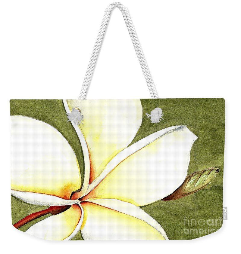Elena Feliciano Art Weekender Tote Bag featuring the painting Plumeria Flower by Elena Feliciano