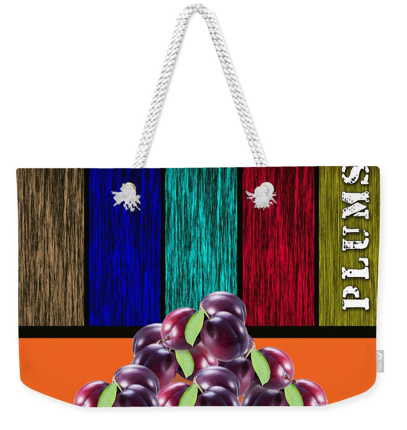 Plums Paintings Weekender Tote Bag featuring the mixed media Plums by Marvin Blaine