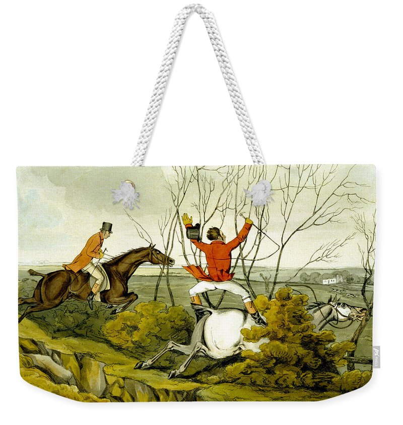 Ditch; Jumping; Grey; Horse; Hunter; Hunting; Rider; Horseback; Unseated; Unhorsed; Falling; Landscape; Accident; Sport; Comical; Humorous Weekender Tote Bag featuring the painting Plunging Through The Hedge From Qualified Horses And Unqualified Riders by Henry Thomas Alken