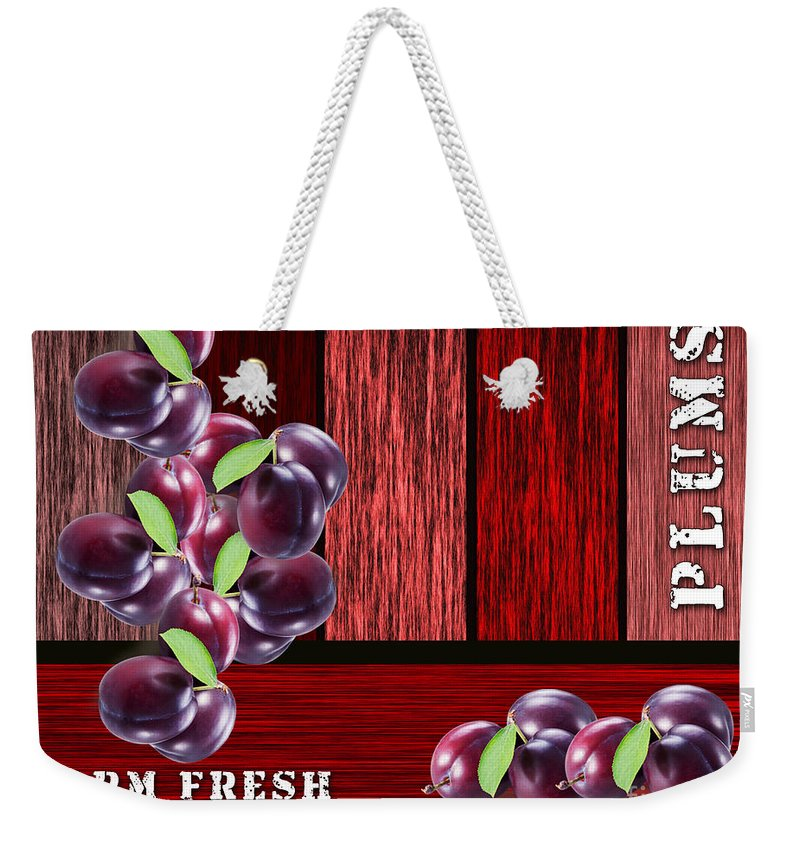Plum Mixed Media Weekender Tote Bag featuring the mixed media Plus Farm by Marvin Blaine