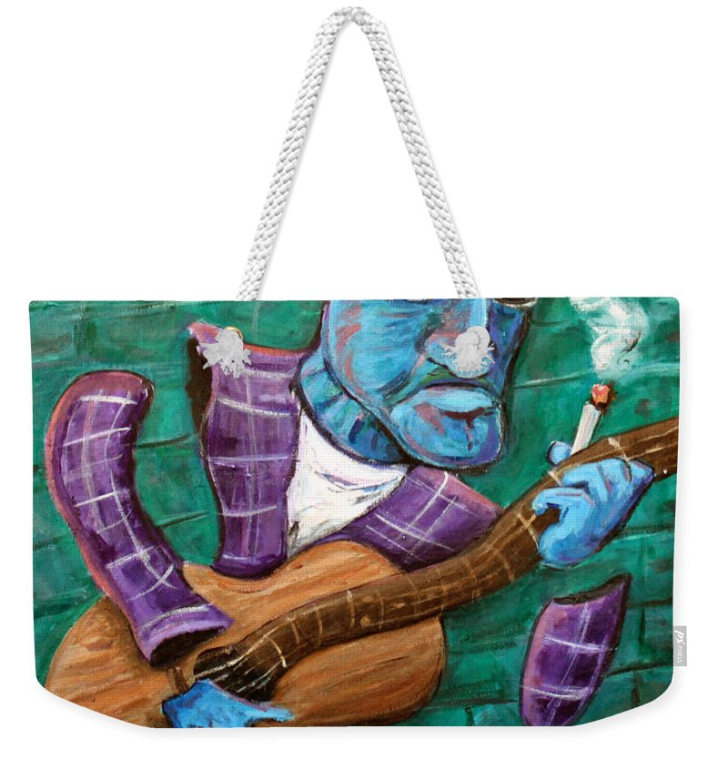 Jazz Music Art The Blues Musician Weekender Tote Bag featuring the painting Po Man by Jason Gluskin
