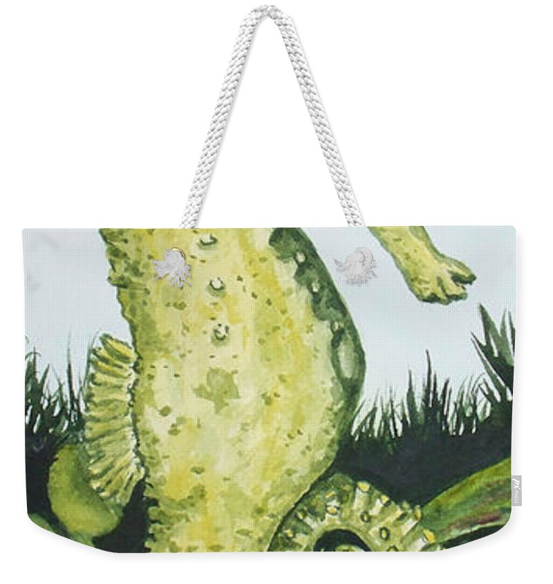 Seahorse Weekender Tote Bag featuring the painting Pod Seahorse by Kathy Przepadlo