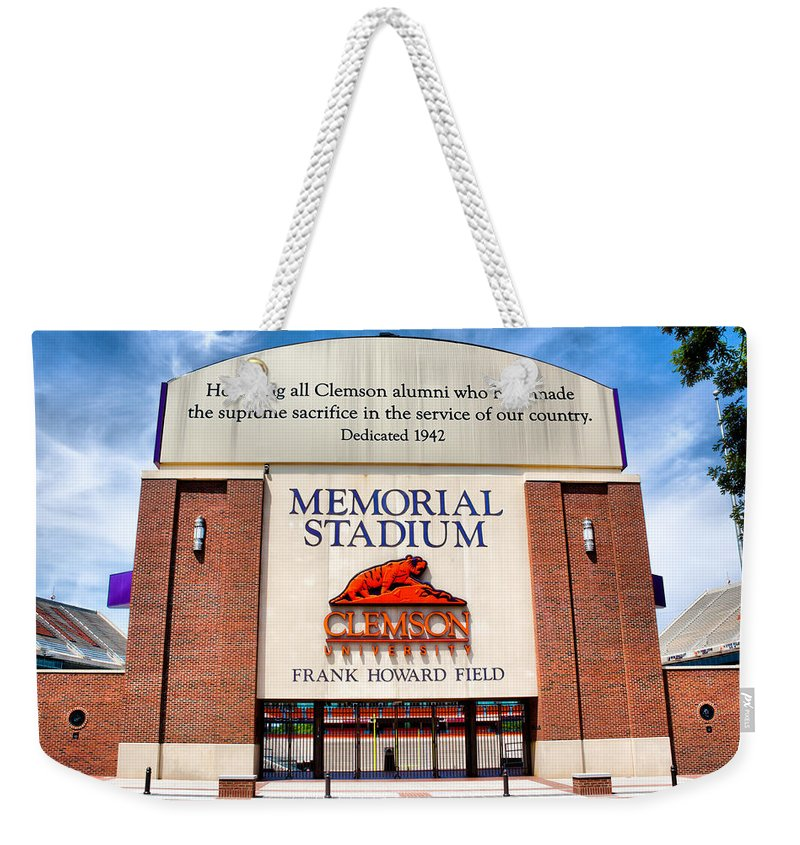 Clemson Weekender Tote Bag featuring the photograph Poe Plaza - Clemson University by Lynne Jenkins