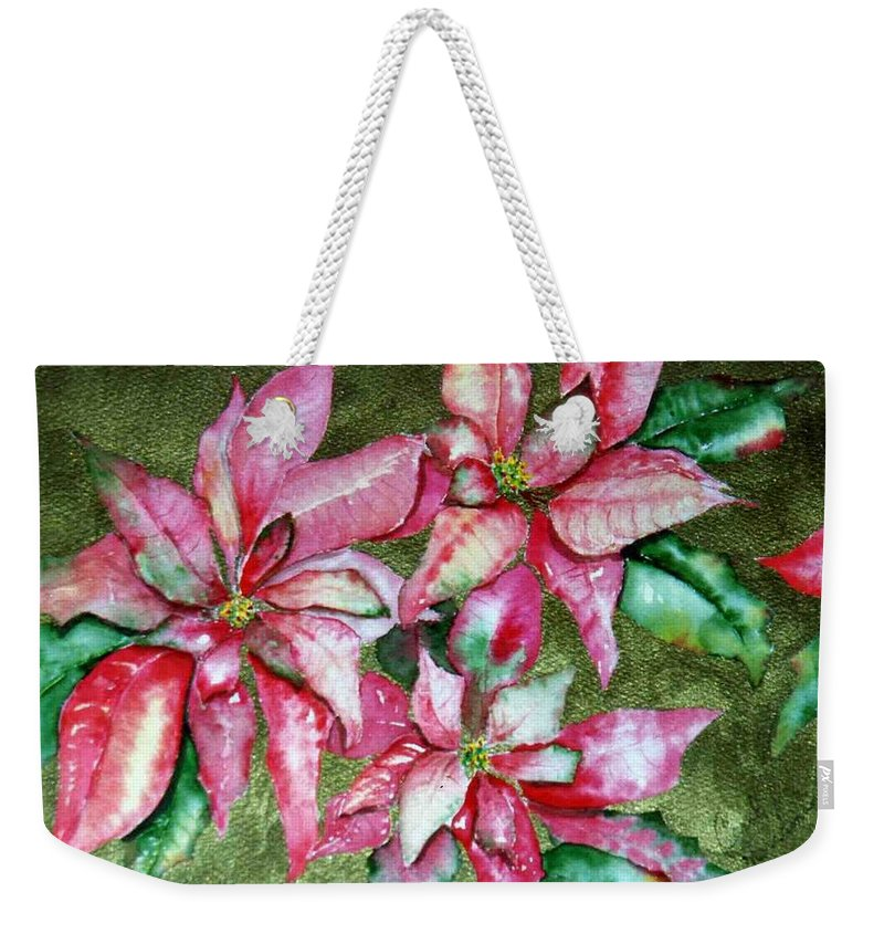 Christmas Weekender Tote Bag featuring the painting Poinsettia by Carol Lindquist