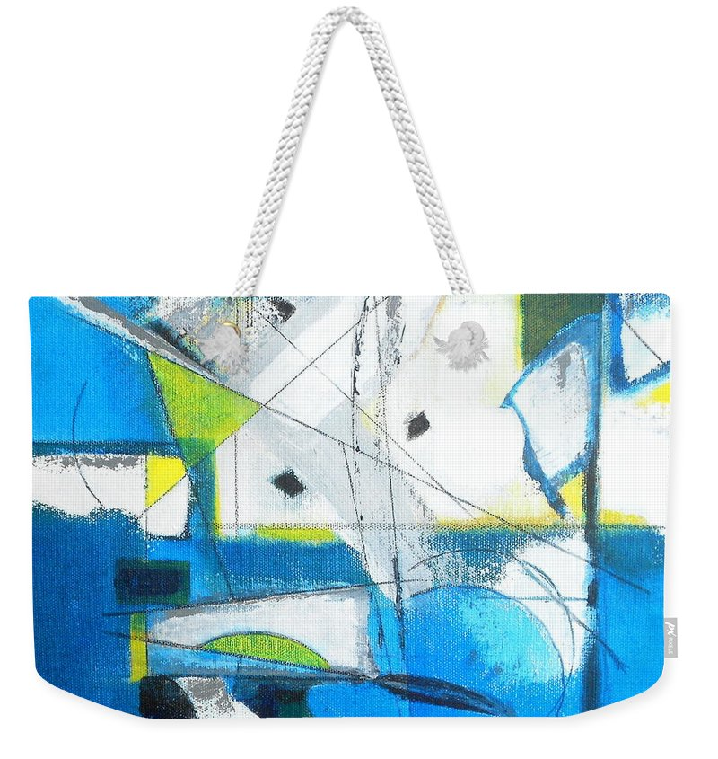 Abstract Painting Blue Weekender Tote Bag featuring the painting Cloud Seeding by Danielle Nelisse