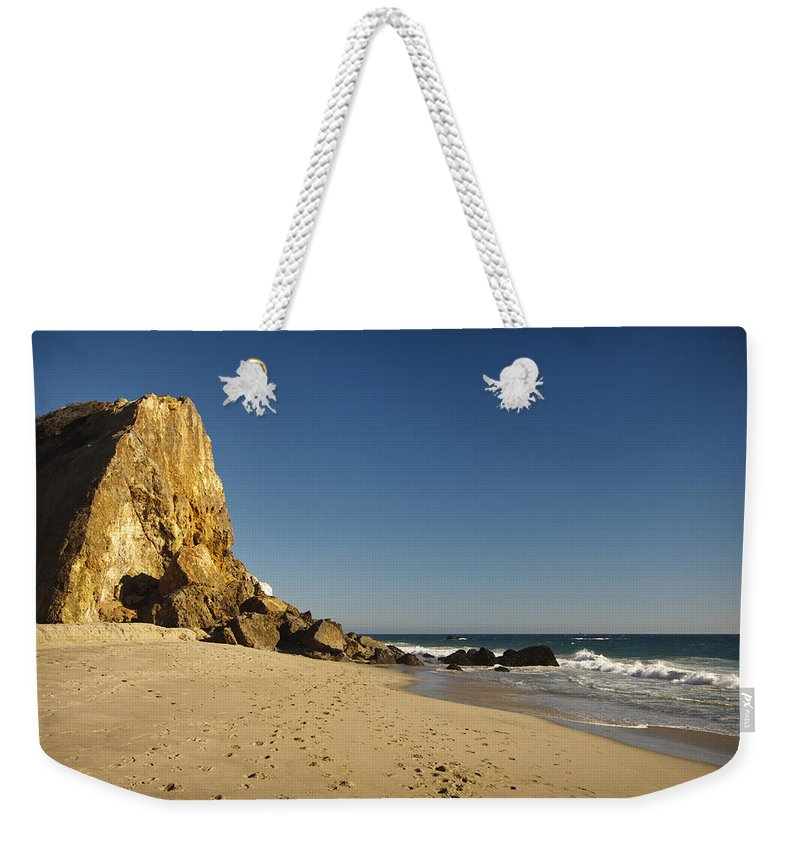 3scape Photos Weekender Tote Bag featuring the photograph Point Dume At Zuma Beach by Adam Romanowicz
