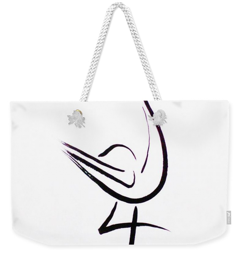 Abstract Weekender Tote Bag featuring the drawing Poise by Micah Guenther