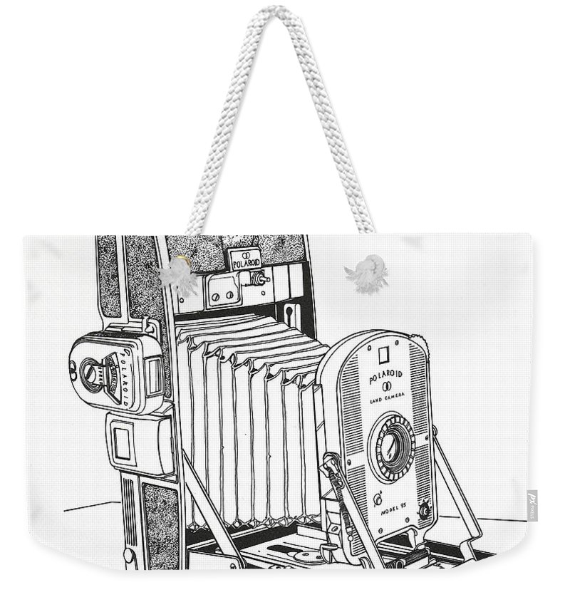 Polaroid Weekender Tote Bag featuring the drawing Polaroid Land Camera by Ira Shander