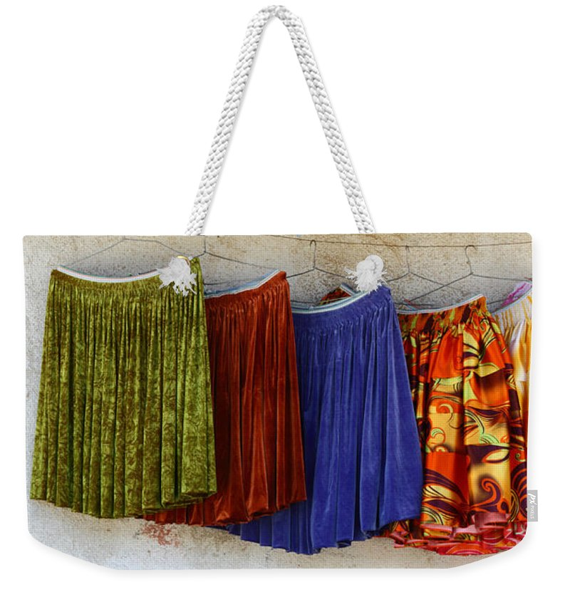 Skirt Weekender Tote Bag featuring the photograph Polleras For Sale by James Brunker