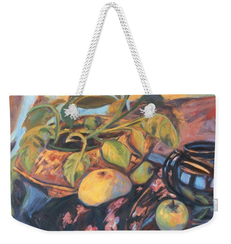 Still Life Weekender Tote Bag featuring the painting Pollys Plant by Kendall Kessler