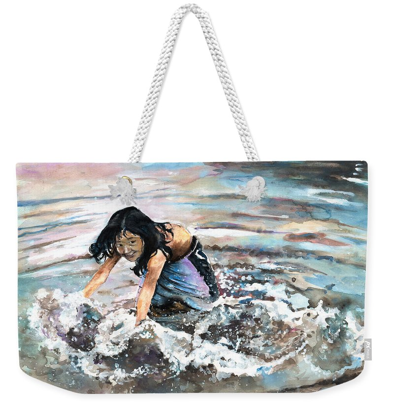 Travel Weekender Tote Bag featuring the painting Polynesian Child Playing With Water by Miki De Goodaboom