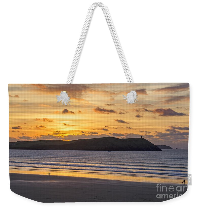 Cornwall Prints Weekender Tote Bag featuring the photograph Polzeath Sunset 4 by Chris Thaxter