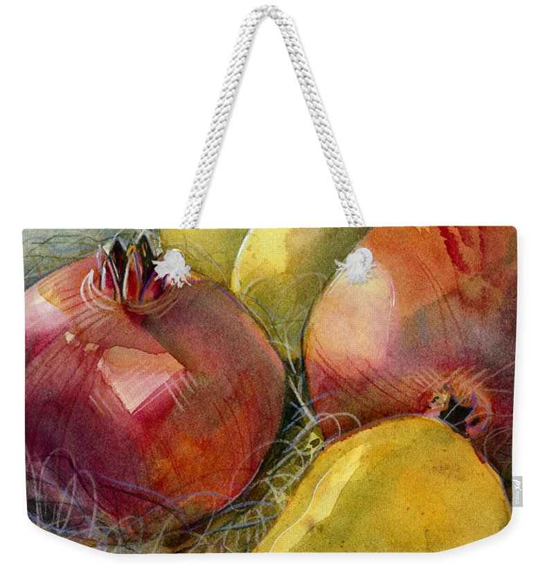 Jen Norton Weekender Tote Bag featuring the painting Pomegranates And Pears  by Jen Norton 4c5924abdb503