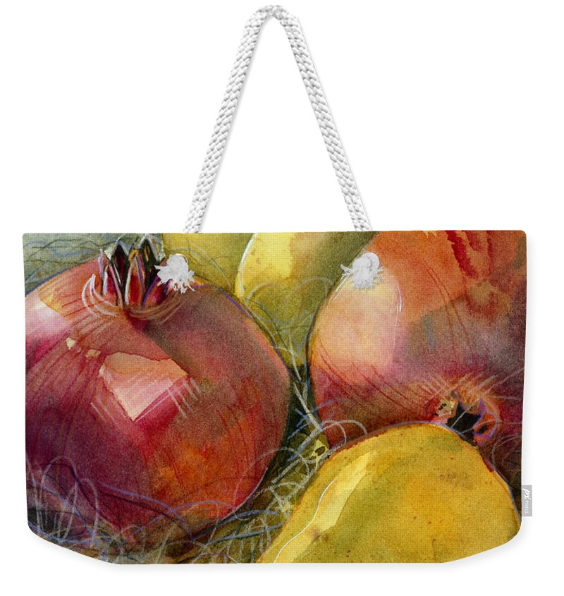 Jen Norton Weekender Tote Bag featuring the painting Pomegranates And Pears by Jen Norton
