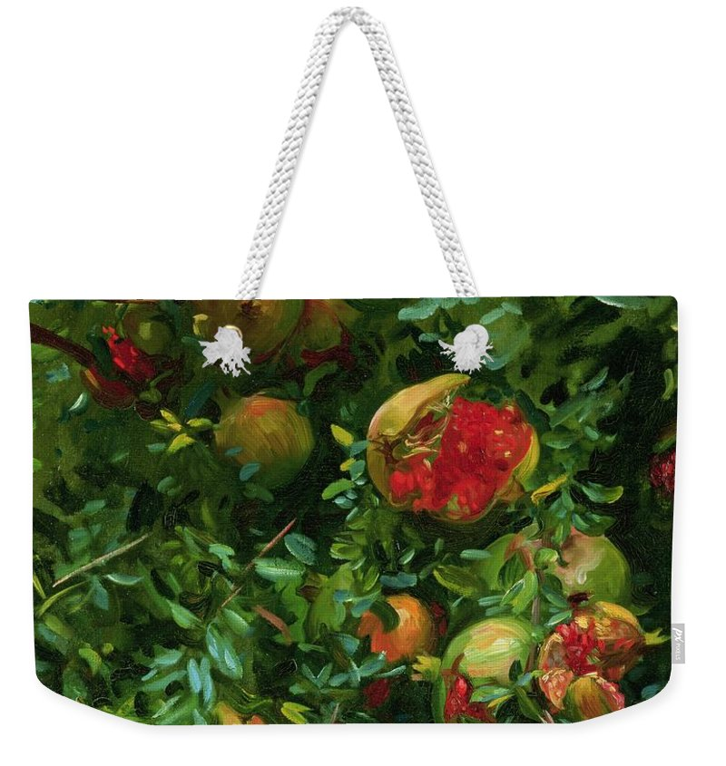 John Singer Sargent Weekender Tote Bag featuring the painting Pomegranates  Majorca by John Singer Sargent