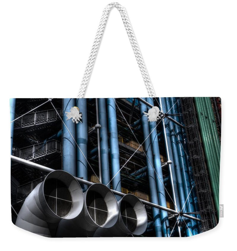 Arch Weekender Tote Bag featuring the photograph Pompidou Pipes by Evie Carrier