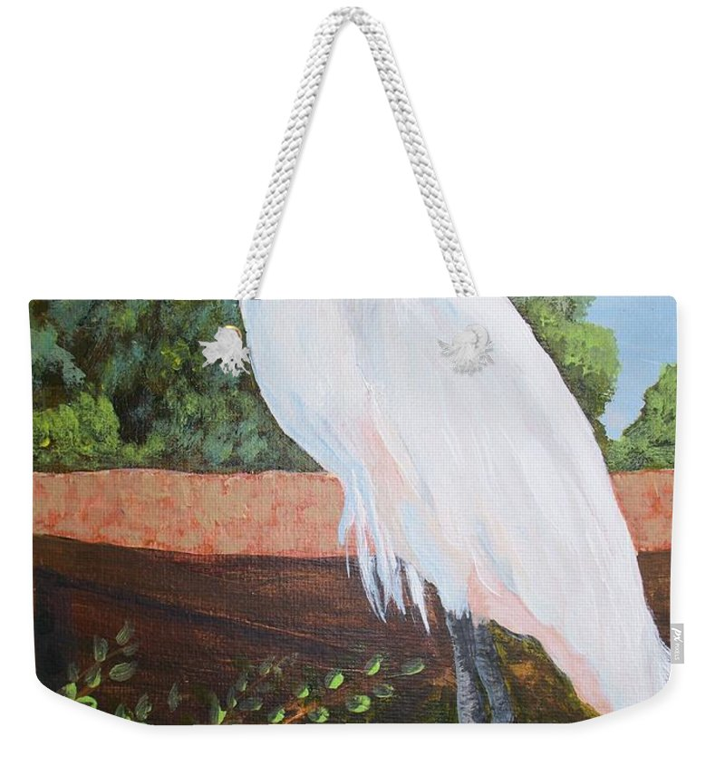 Egret Weekender Tote Bag featuring the painting Ponce Point Egret by Kathy Przepadlo