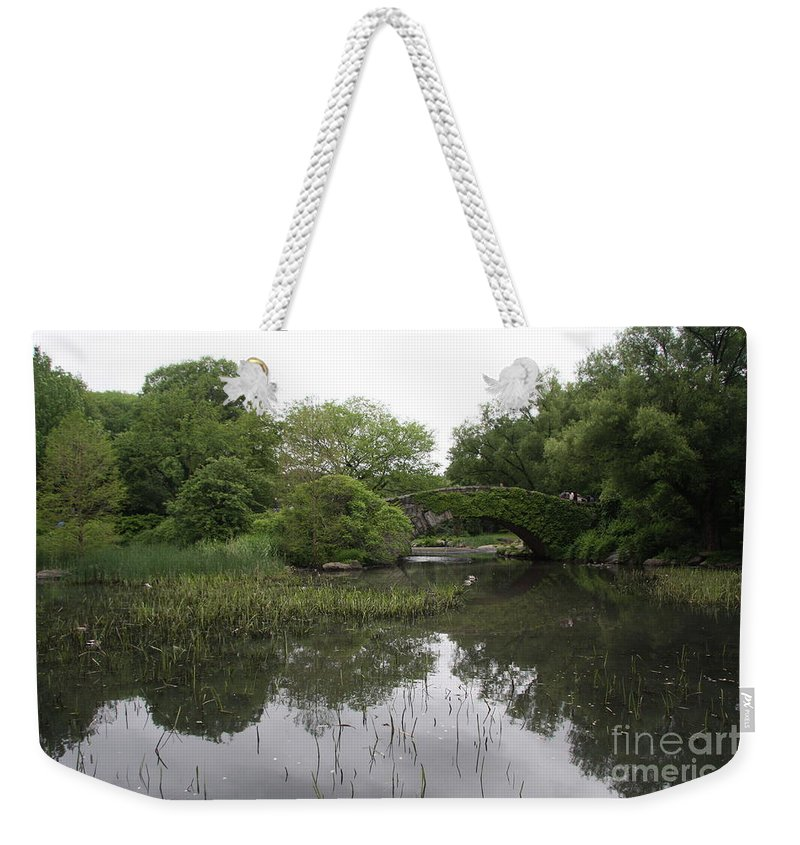 Pond Weekender Tote Bag featuring the photograph Pond And Bridge by Christiane Schulze Art And Photography