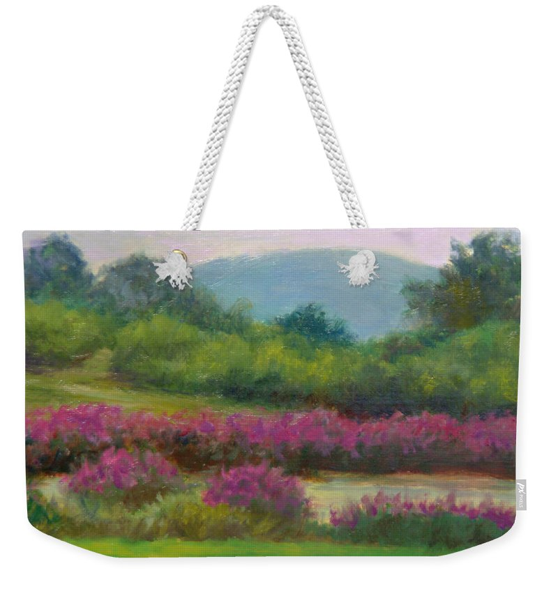 Landscape Weekender Tote Bag featuring the painting Pond At Willow Tree Farm by Phyllis Tarlow