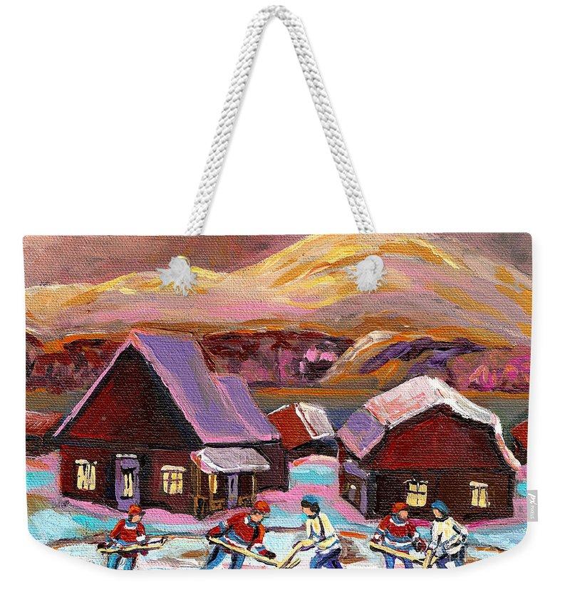 Pond Hockey Weekender Tote Bag featuring the painting Pond Hockey 1 by Carole Spandau