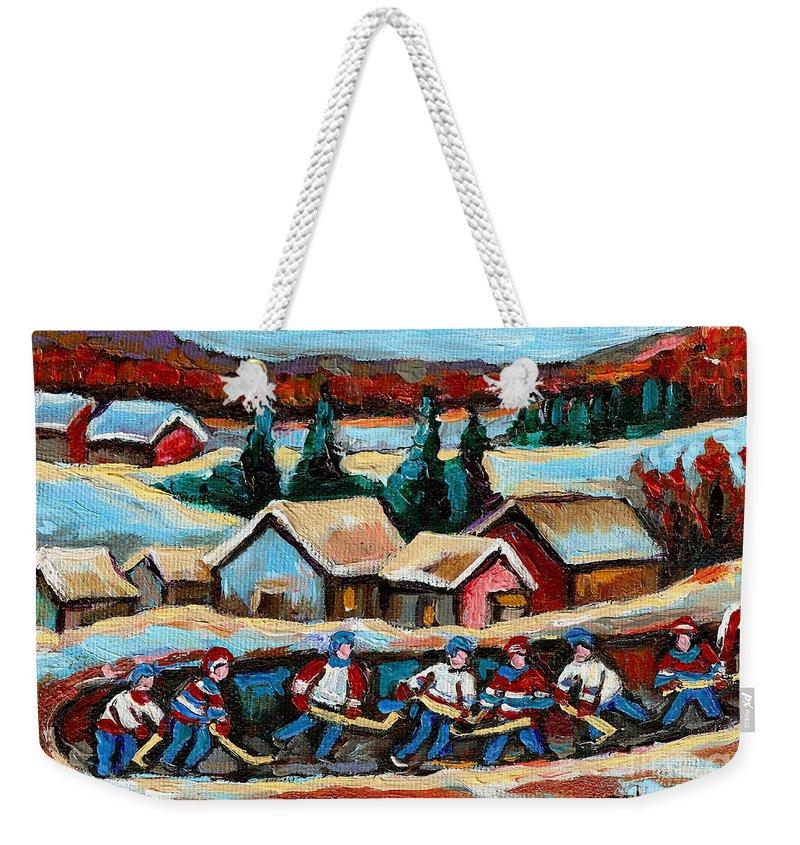 Pond Hockey Weekender Tote Bag featuring the painting Pond Hockey 2 by Carole Spandau