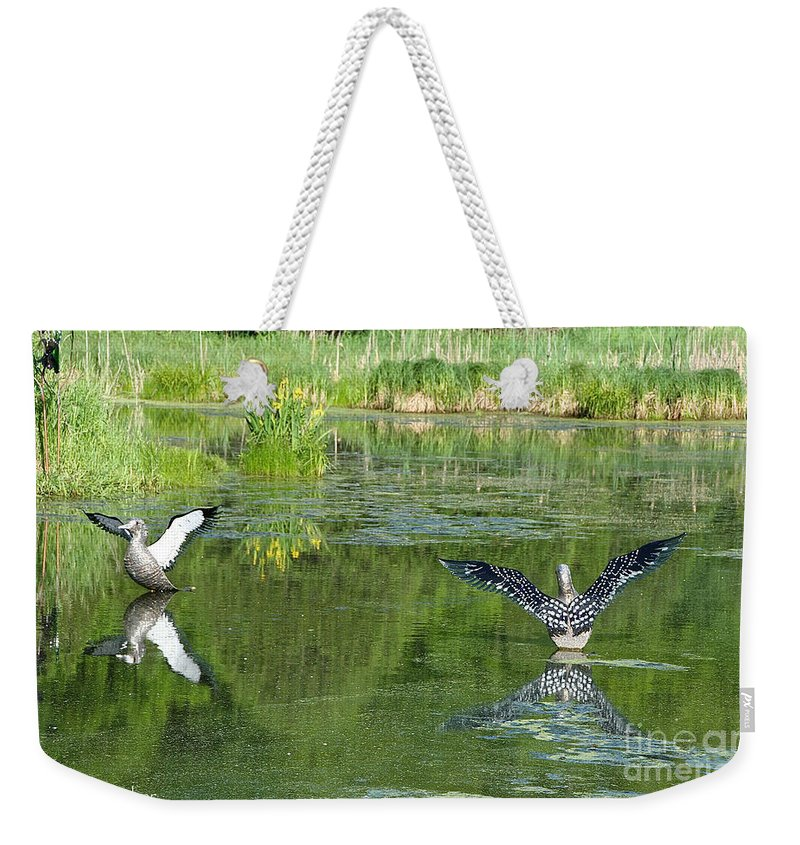 Outdoors Weekender Tote Bag featuring the photograph Pond Pairs Dancing by Susan Herber