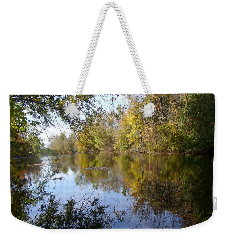 Water Reflection Weekender Tote Bag featuring the photograph Pond Reflection At Limehouse Ontario by Lingfai Leung