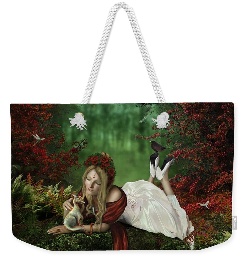 Fantasy Weekender Tote Bag featuring the digital art Pondering by Cassiopeia Art