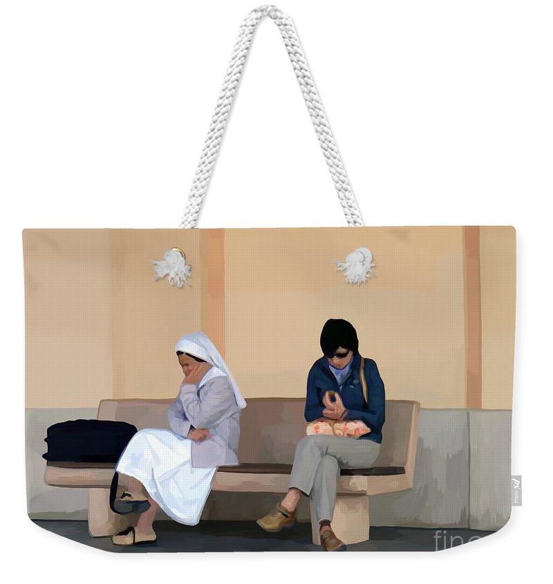 Abstract Art Weekender Tote Bag featuring the digital art Pondering by John Engen
