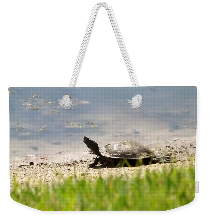 Turtle Weekender Tote Bag featuring the photograph Pond's Edge by Linda Kerkau