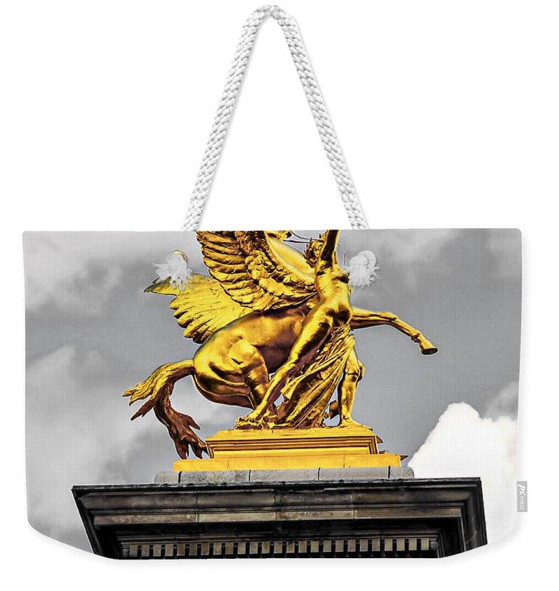 Bridge Weekender Tote Bag featuring the photograph Pont Alexander IIi Fragment In Paris by Elena Elisseeva