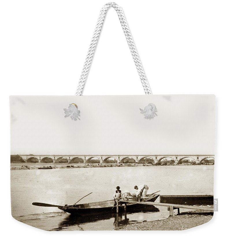Bridge Weekender Tote Bag featuring the photograph pont George V Bridge over Loire river Orleans Loire Valley France 1900 by California Views Archives Mr Pat Hathaway Archives