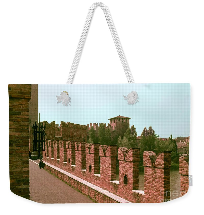 Pont Scaligero Adige River Verona Rivers Bridge Bridges Structure Structures Building Buildings Architecture City Cities Cityscape Cityscapes Italy Weekender Tote Bag featuring the photograph Pont Scaligero by Bob Phillips