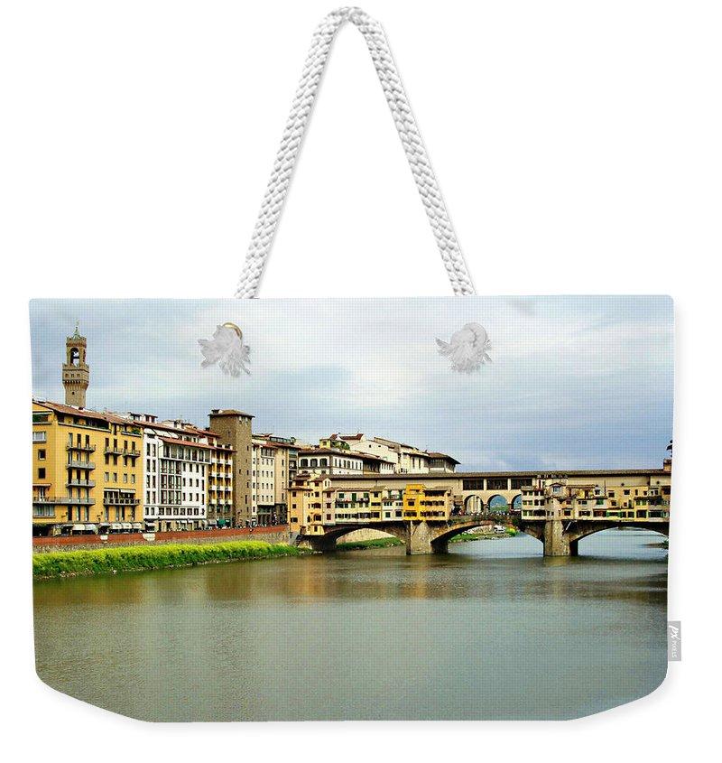 Ponte Vecchio Weekender Tote Bag featuring the photograph Ponte Vecchio 1 by Ellen Henneke
