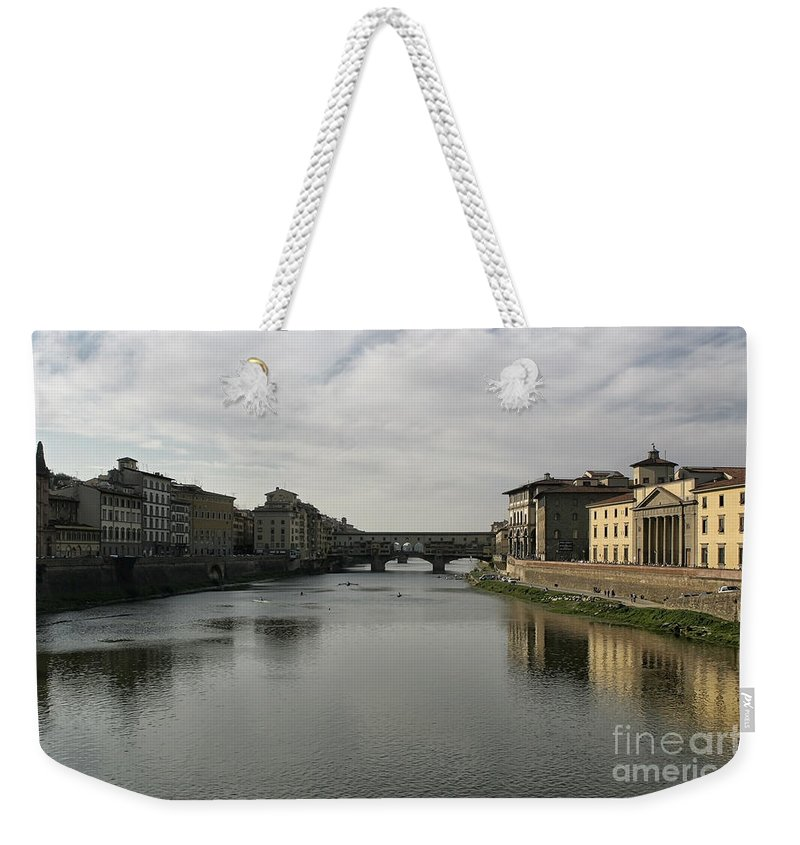 Ancient Weekender Tote Bag featuring the photograph Ponte Vecchio by Belinda Greb