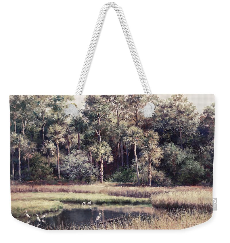 Laurie Hein Weekender Tote Bag featuring the painting Ponte Vedre II by Laurie Snow Hein