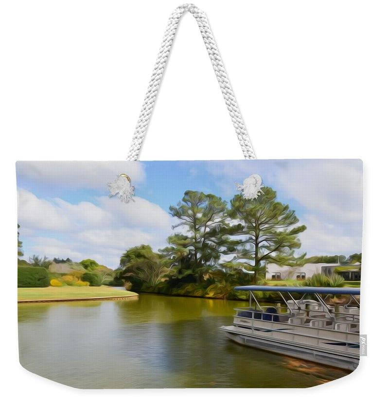 Action Weekender Tote Bag featuring the painting Pontoon Boat Ride On The Lake by Jeelan Clark