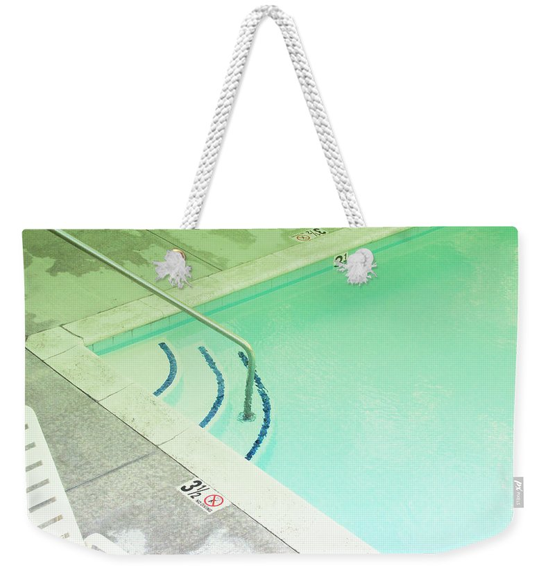 Pool Weekender Tote Bag featuring the photograph Pool Steps Shallow End by Kathleen Grace