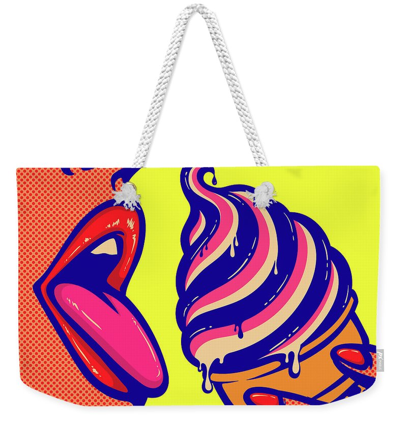 Art Weekender Tote Bag featuring the digital art Pop Art Comic Book Mouth Of Woman by Drante