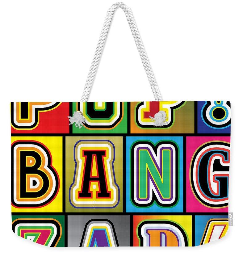 Pop Art Weekender Tote Bag featuring the digital art Pop Words by Gary Grayson